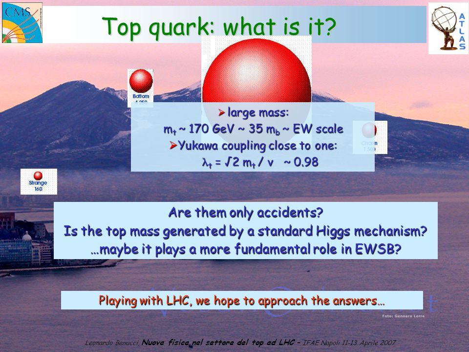 1 Leonardo Benucci, Nuova fisica nel settore del top ad LHC – IFAE Napoli 11-13 Aprile 2007 Top quark: what is it.