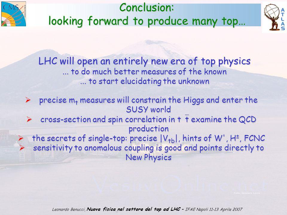 1 Leonardo Benucci, Nuova fisica nel settore del top ad LHC – IFAE Napoli 11-13 Aprile 2007 Conclusion: looking forward to produce many top… LHC will open an entirely new era of top physics...
