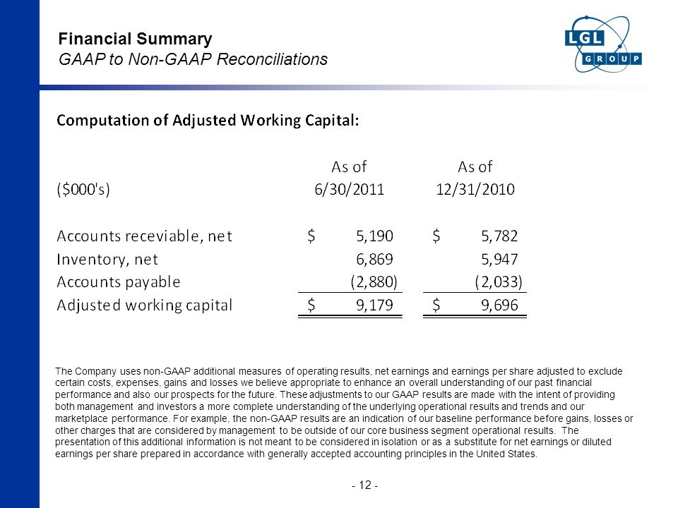 Financial Summary GAAP to Non-GAAP Reconciliations - 12 - The Company uses non-GAAP additional measures of operating results, net earnings and earnings per share adjusted to exclude certain costs, expenses, gains and losses we believe appropriate to enhance an overall understanding of our past financial performance and also our prospects for the future.