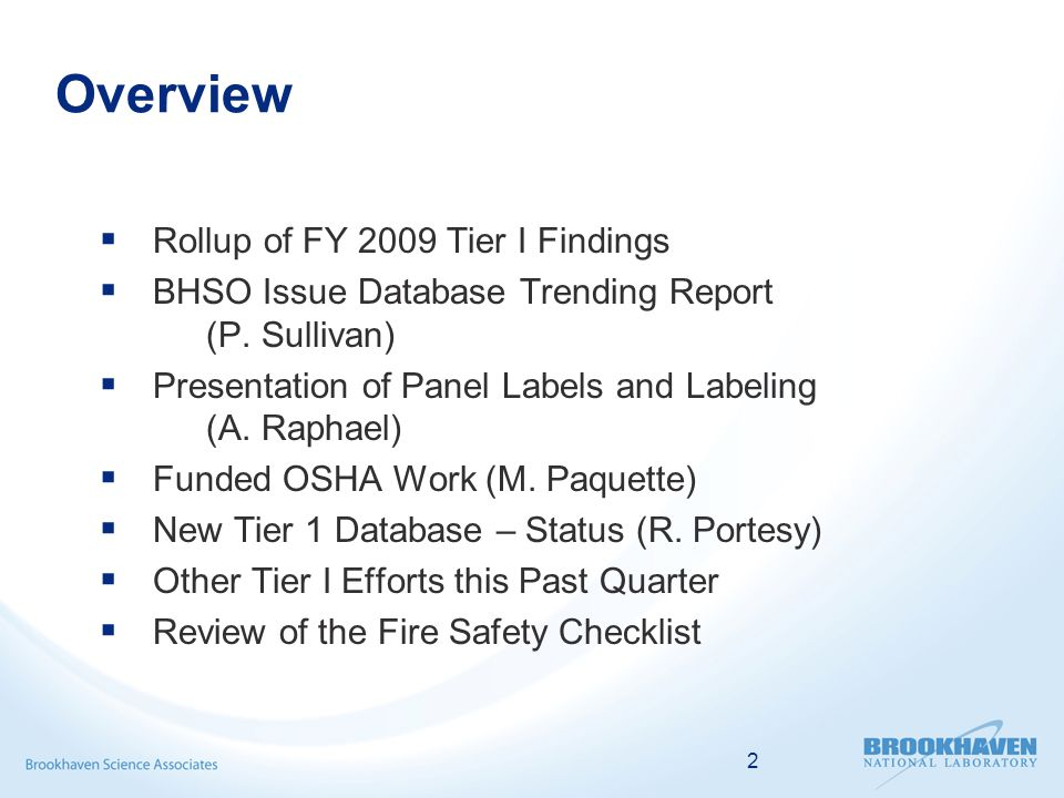 2 Overview  Rollup of FY 2009 Tier I Findings  BHSO Issue Database Trending Report (P. Sullivan)  Presentation of Panel Labels and Labeling (A. Rap