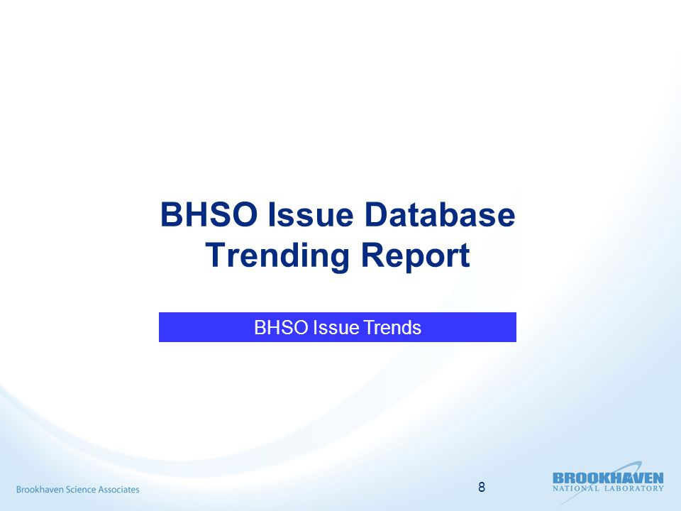 8 BHSO Issue Database Trending Report BHSO Issue Trends