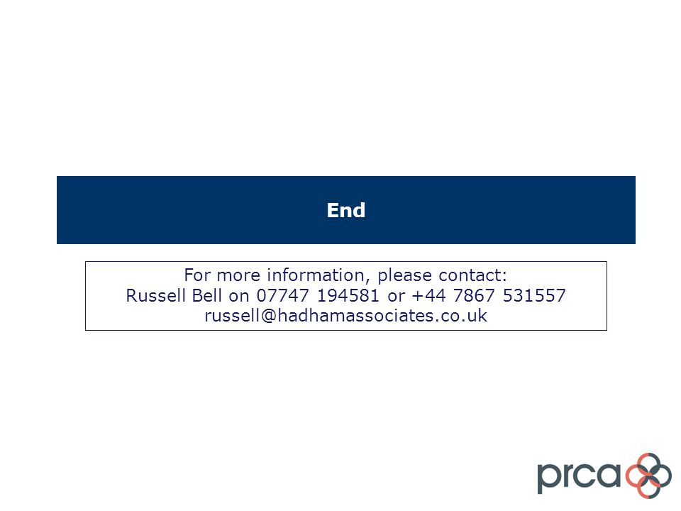 End For more information, please contact: Russell Bell on 07747 194581 or +44 7867 531557 russell@hadhamassociates.co.uk