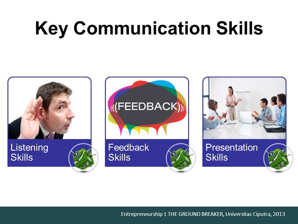 Entrepreneurship 1 THE GROUND BREAKER, Universitas Ciputra, 2013 Key Communication Skills Listening Skills Feedback Skills Presentation Skills