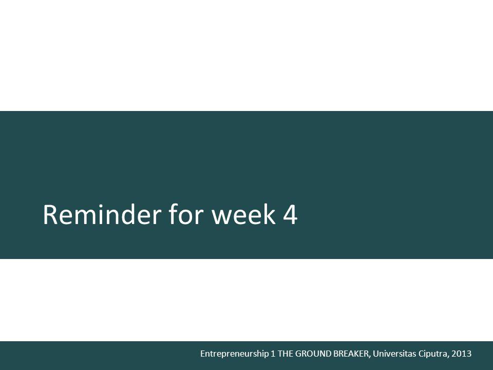 Entrepreneurship 1 THE GROUND BREAKER, Universitas Ciputra, 2013 Reminder for week 4