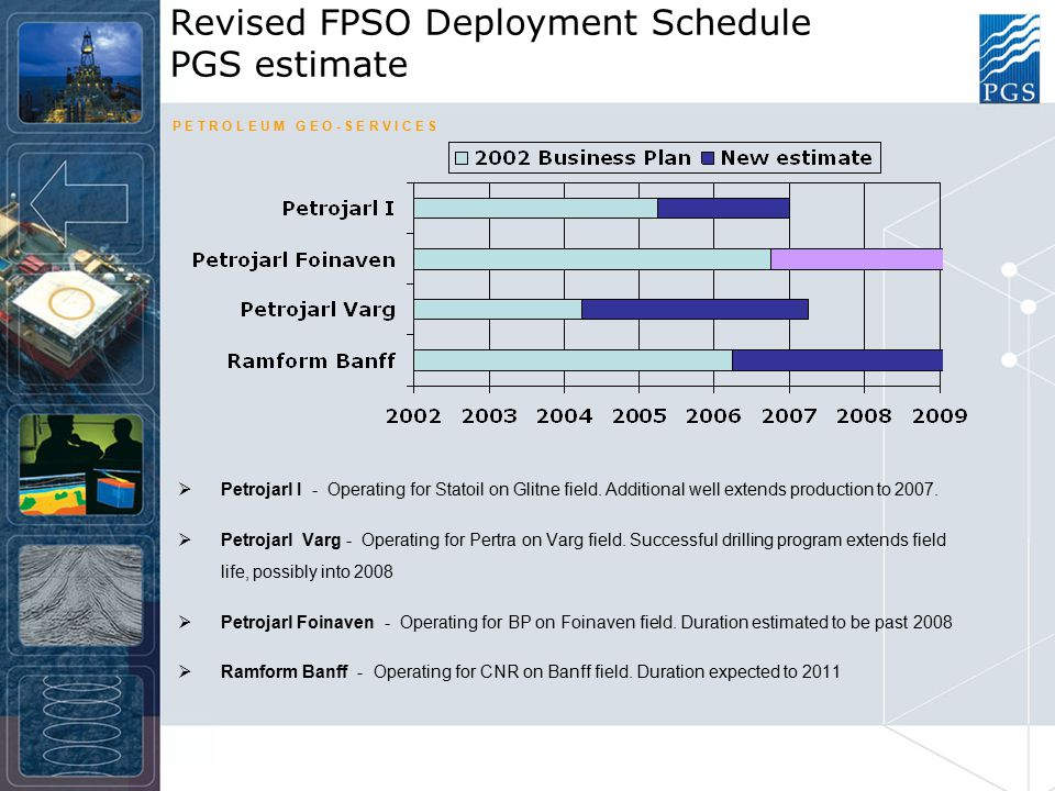 P E T R O L E U M G E O - S E R V I C E S Revised FPSO Deployment Schedule PGS estimate  Petrojarl I - Operating for Statoil on Glitne field.