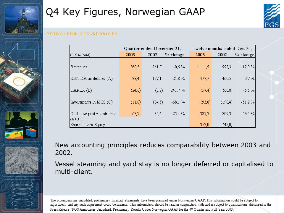 P E T R O L E U M G E O - S E R V I C E S Q4 Key Figures, Norwegian GAAP New accounting principles reduces comparability between 2003 and 2002.