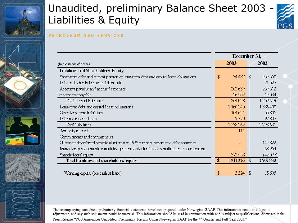 P E T R O L E U M G E O - S E R V I C E S Unaudited, preliminary Balance Sheet 2003 - Liabilities & Equity The accompanying unaudited, preliminary financial statements have been prepared under Norwegian GAAP.