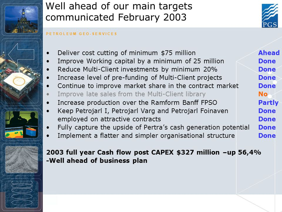 P E T R O L E U M G E O - S E R V I C E S Q4 Group cash flow post CAPEX 1) of $63,7 million brings year in line with Business Plan Impairment charges totaling $496,6 million recognized in Q4 ($716,8 for the full year) Varg Field extension confirmed after EOR drilling success Chapter 11 process completed in 100 days – Nov 5th –Massive support from creditors and shareholders –Interest bearing debt reduced by $1.283 million –New Board of Directors broad international and industry background Q4 Group Highlights 1) Defined as Adjusted EBITDA (as defined) less CAPEX and Investments in Multi Client Library