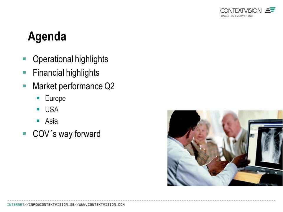 Agenda  Operational highlights  Financial highlights  Market performance Q2  Europe  USA  Asia  COV´s way forward