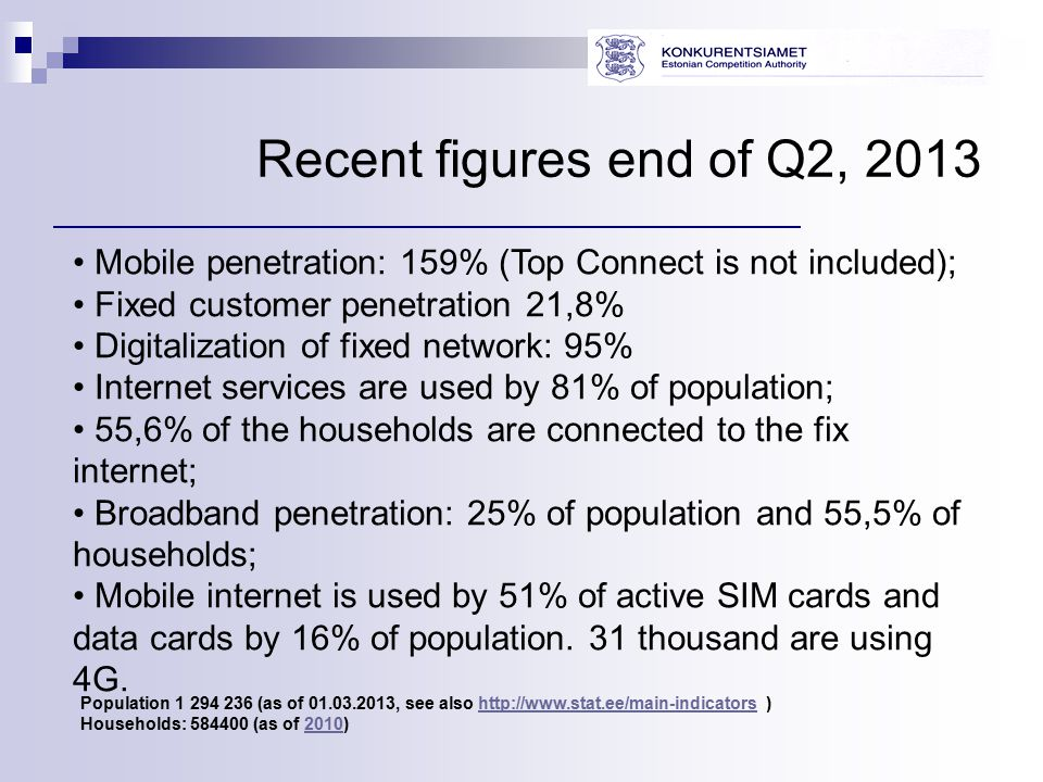 Recent figures end of Q2, 2013 Mobile penetration: 159% (Top Connect is not included); Fixed customer penetration 21,8% Digitalization of fixed network: 95% Internet services are used by 81% of population; 55,6% of the households are connected to the fix internet; Broadband penetration: 25% of population and 55,5% of households; Mobile internet is used by 51% of active SIM cards and data cards by 16% of population.