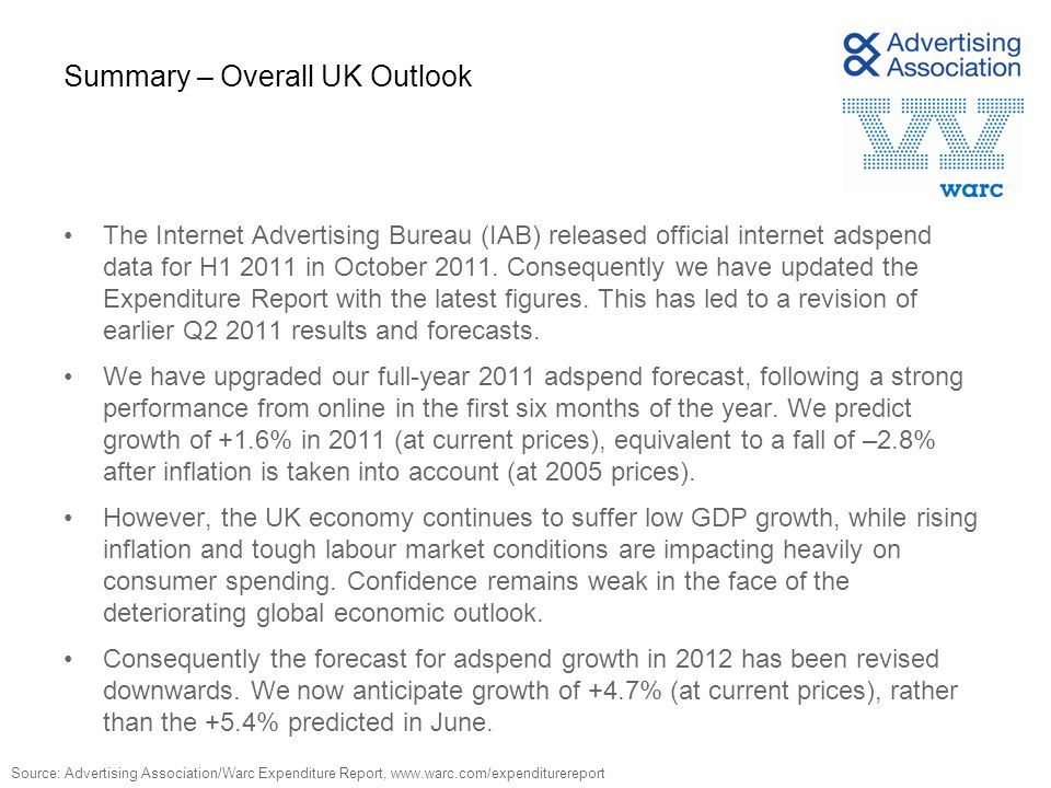 Summary – Overall UK Outlook The Internet Advertising Bureau (IAB) released official internet adspend data for H1 2011 in October 2011.