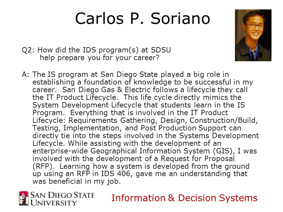 Information & Decision Systems Carlos P.