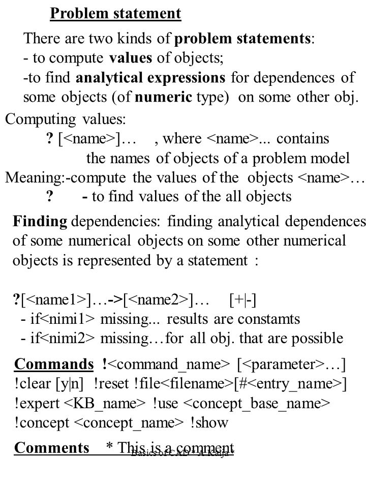 Problem statement There are two kinds of problem statements: - to compute values of objects; -to find analytical expressions for dependences of some o