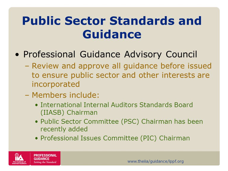 www.theiia/guidance/ippf.org Public Sector Standards and Guidance Professional Guidance Advisory Council –Review and approve all guidance before issued to ensure public sector and other interests are incorporated –Members include: International Internal Auditors Standards Board (IIASB) Chairman Public Sector Committee (PSC) Chairman has been recently added Professional Issues Committee (PIC) Chairman