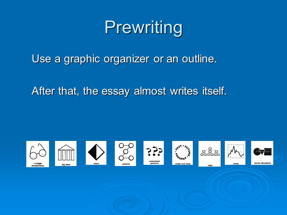 Prewriting Use a graphic organizer or an outline. After that, the essay almost writes itself.