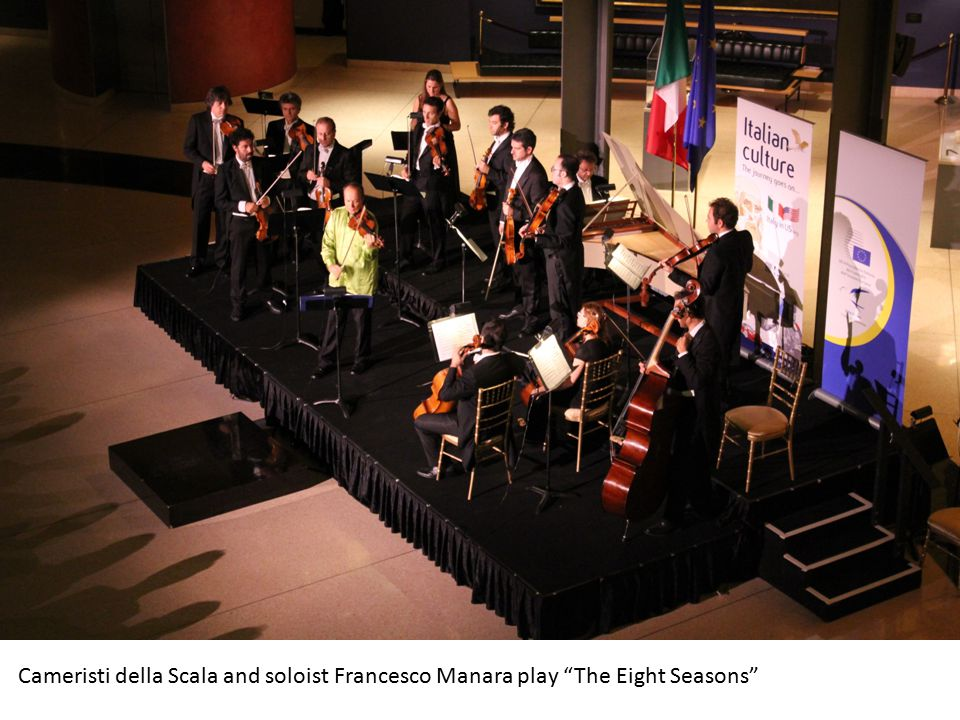 From Milan to Washington: about 500 people attended the concert The Eight Seasons by the Cameristi della Scala at the Embassy of Italy to celebrate the Italian Presidency of the Council of the European Union.