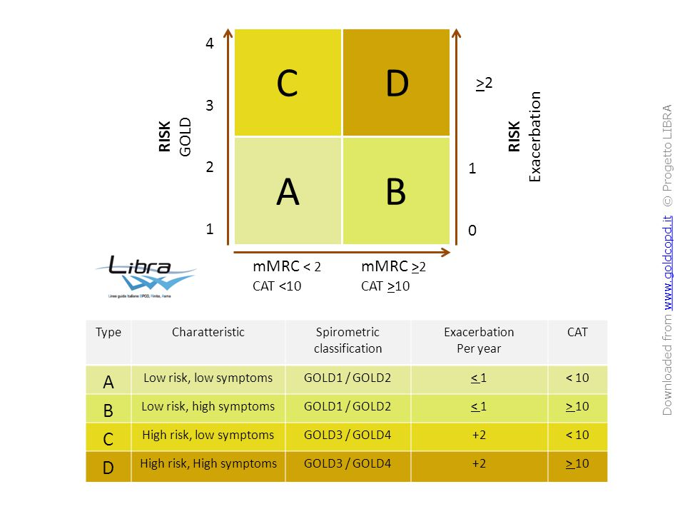 ABCDABCD mMRC < 2 CAT <10 mMRC >2 CAT >10 43214321 1010 >2>2 RISK GOLD RISK Exacerbation TypeCharatteristicSpirometric classification Exacerbation Per year CAT A Low risk, low symptomsGOLD1 / GOLD2< 1< 10 B Low risk, high symptomsGOLD1 / GOLD2< 1> 10 C High risk, low symptomsGOLD3 / GOLD4+2< 10 D High risk, High symptomsGOLD3 / GOLD4+2> 10 Downloaded from www.goldcopd.it © Progetto LIBRAwww.goldcopd.it