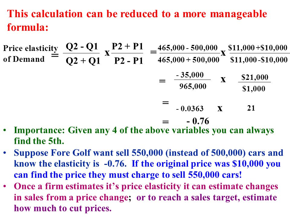 $11,000 +$10,000465,000 - 500,000 This calculation can be reduced to a more manageable formula: Price elasticity of Demand = Q2 - Q1 Q2 + Q1 x P2 + P1