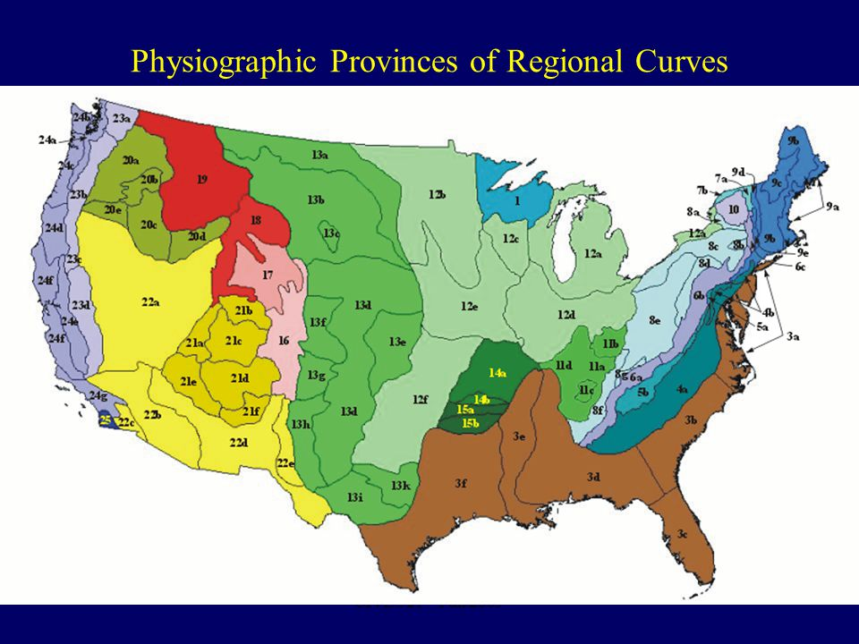 CIVE 521 – Fall 2009 Physiographic Provinces of Regional Curves