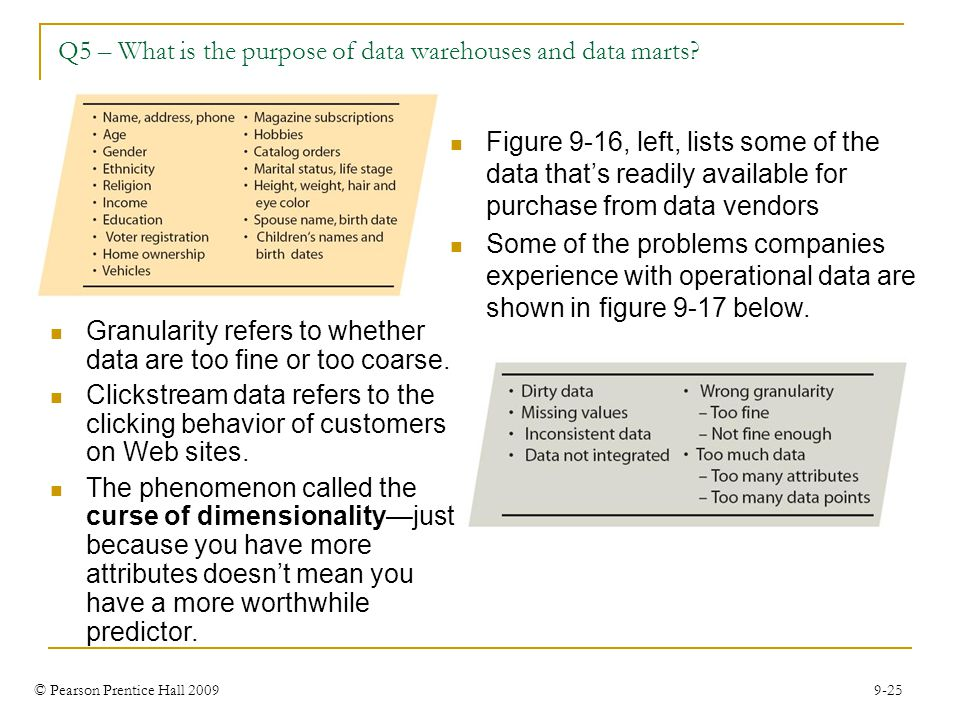 © Pearson Prentice Hall 2009 9-25 Q5 – What is the purpose of data warehouses and data marts? Figure 9-16, left, lists some of the data that's readily
