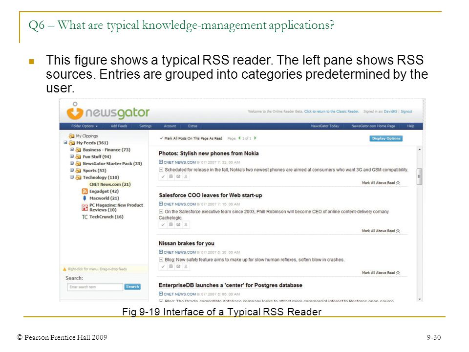 © Pearson Prentice Hall 2009 9-30 Q6 – What are typical knowledge-management applications? Fig 9-19 Interface of a Typical RSS Reader This figure show