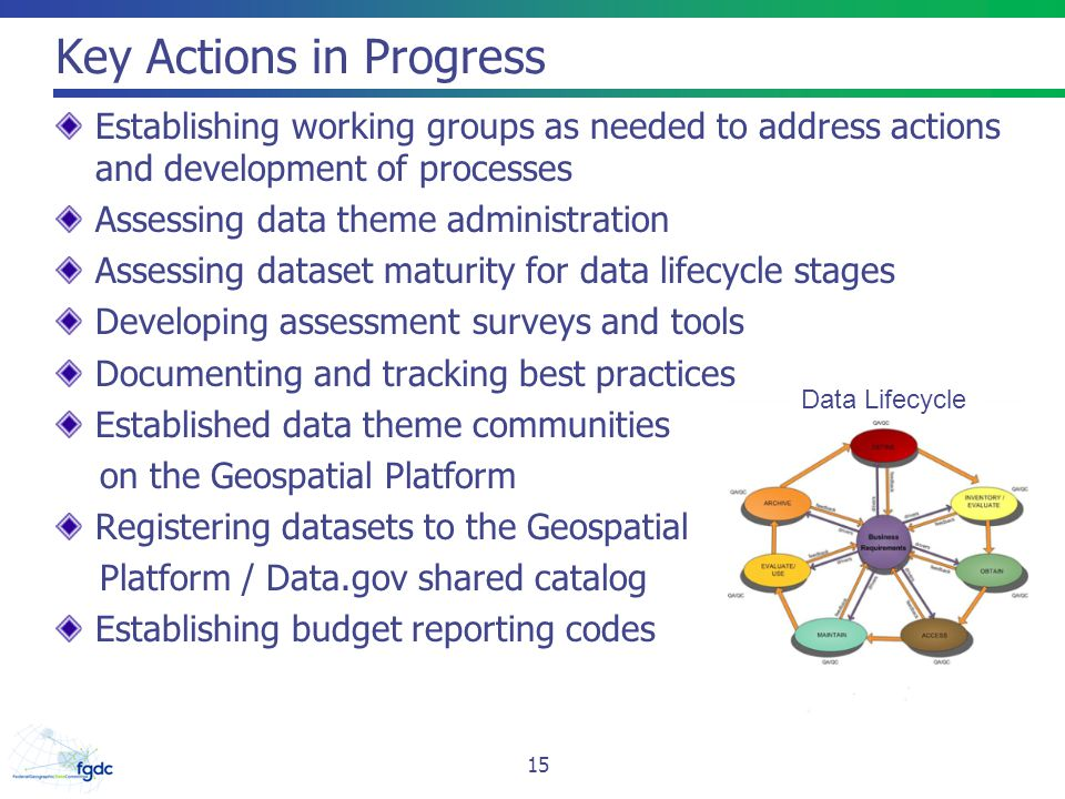 Key Actions in Progress Establishing working groups as needed to address actions and development of processes Assessing data theme administration Asse