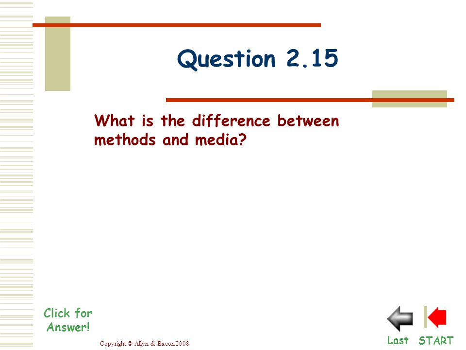 Copyright © Allyn & Bacon 2008 Question 2.15 START Last Click for Answer.