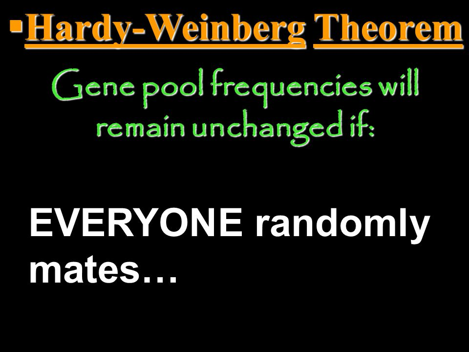  Hardy-Weinberg Theorem Gene pool frequencies will remain unchanged if: EVERYONE breeds…