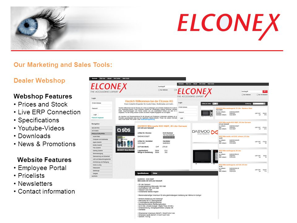_____________________________________ Was bieten wir? Our Marketing and Sales Tools: Dealer Webshop Webshop Features Prices and Stock Live ERP Connect
