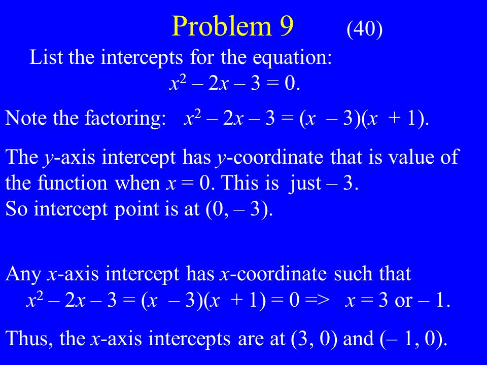Problem 9 (40) List the intercepts for the equation: x 2 – 2x – 3 = 0.