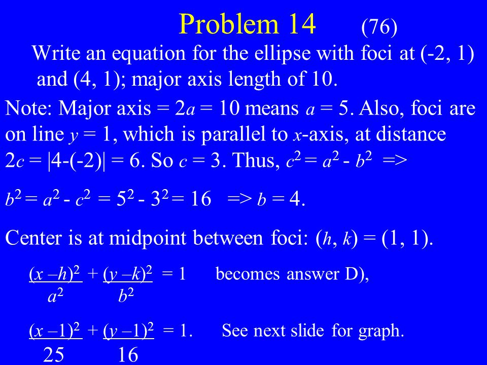 Problem 14 (76) Write an equation for the ellipse with foci at (-2, 1) and (4, 1); major axis length of 10.