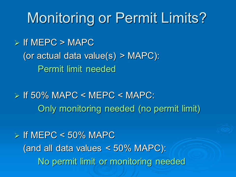 Monitoring or Permit Limits.