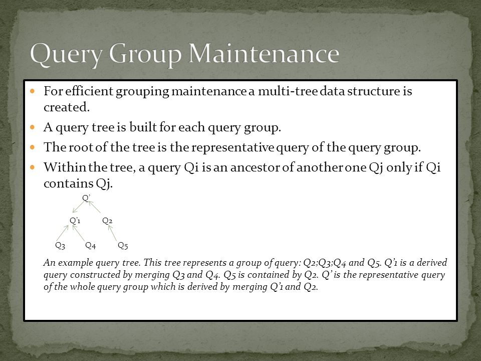 For efficient grouping maintenance a multi-tree data structure is created. A query tree is built for each query group. The root of the tree is the rep