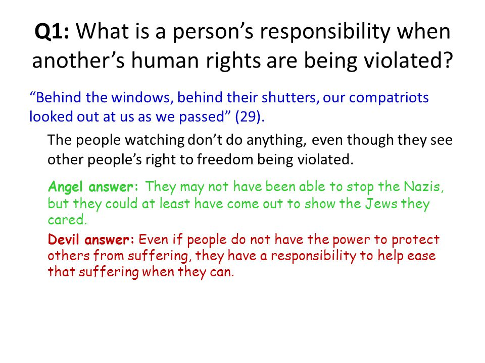 Q1: What is a person's responsibility when another's human rights are being violated.