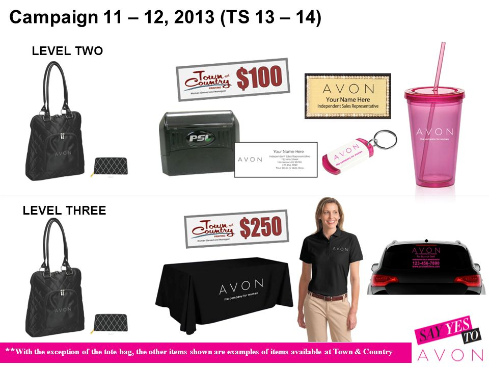 Campaign 11 – 12, 2013 (TS 13 – 14) LEVEL TWO LEVEL THREE ** With the exception of the tote bag, the other items shown are examples of items available at Town & Country