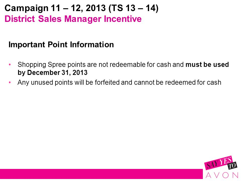 Campaign 11 – 12, 2013 (TS 13 – 14) District Sales Manager Incentive Important Point Information Shopping Spree points are not redeemable for cash and must be used by December 31, 2013 Any unused points will be forfeited and cannot be redeemed for cash