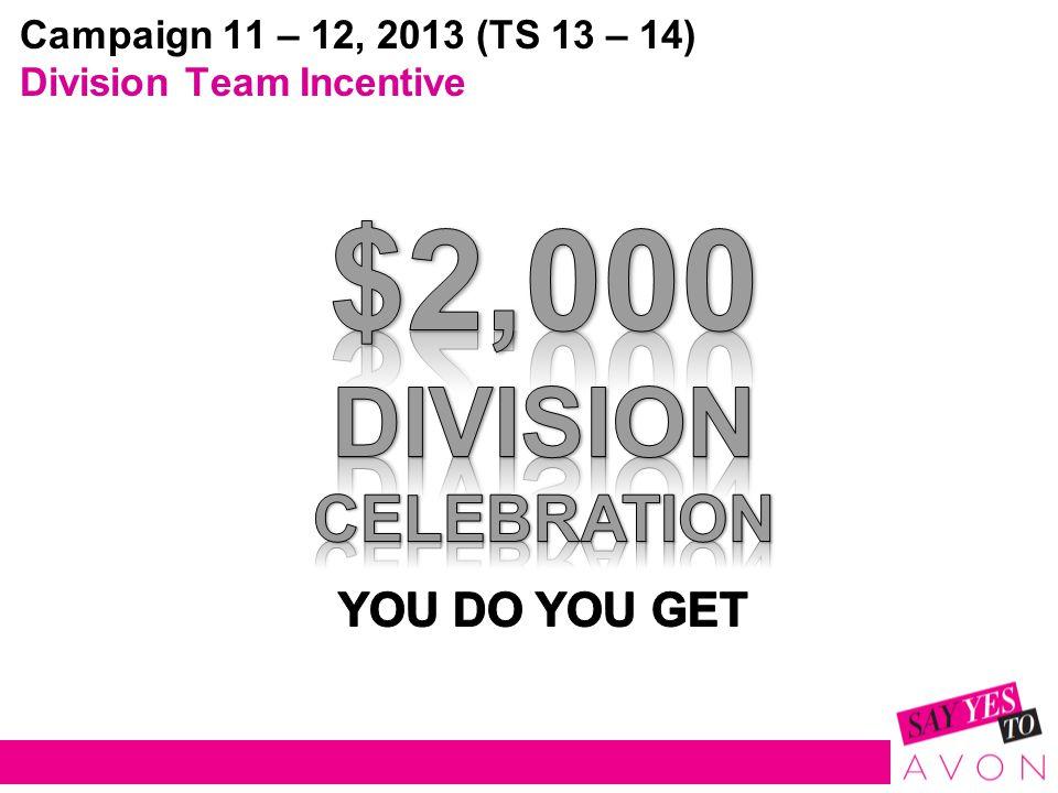 Campaign 11 – 12, 2013 (TS 13 – 14) Division Team Incentive