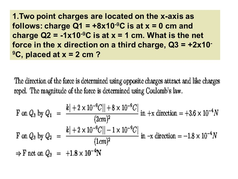 1.Two point charges are located on the x-axis as follows: charge Q1 = +8x10 -9 C is at x = 0 cm and charge Q2 = -1x10 -9 C is at x = 1 cm. What is the