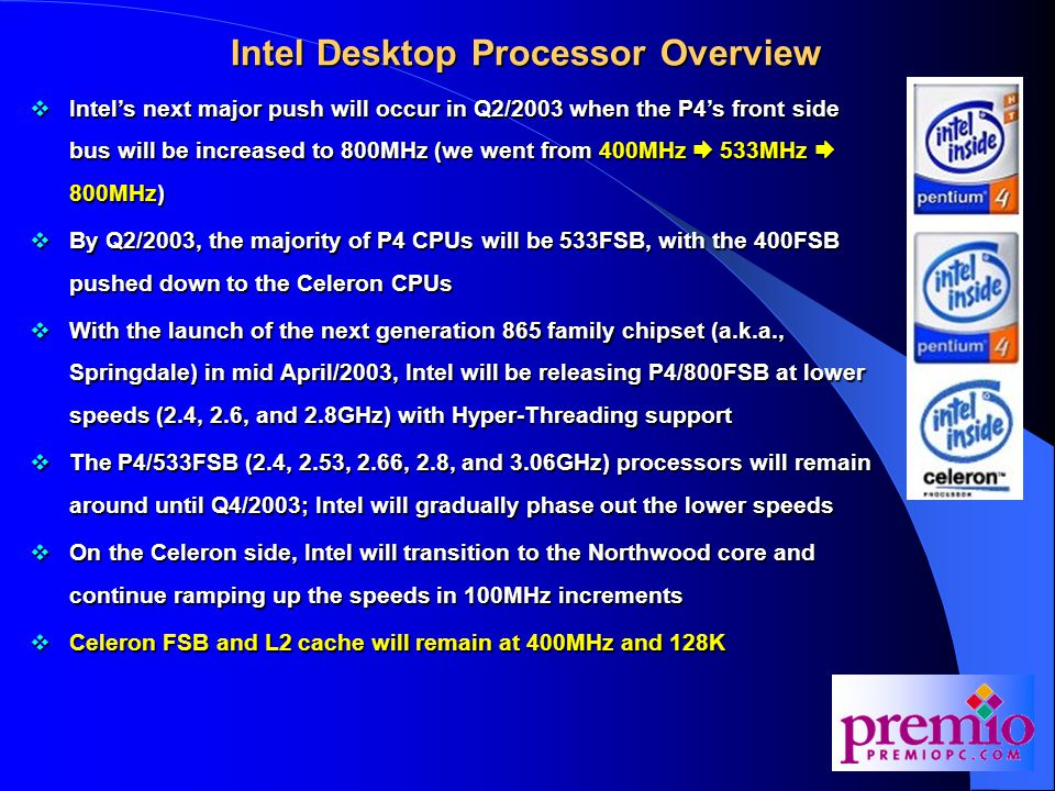 Intel Desktop Processor Overview  Intel's next major push will occur in Q2/2003 when the P4's front side bus will be increased to 800MHz (we went from 400MHz  533MHz  800MHz)  By Q2/2003, the majority of P4 CPUs will be 533FSB, with the 400FSB pushed down to the Celeron CPUs  With the launch of the next generation 865 family chipset (a.k.a., Springdale) in mid April/2003, Intel will be releasing P4/800FSB at lower speeds (2.4, 2.6, and 2.8GHz) with Hyper-Threading support  The P4/533FSB (2.4, 2.53, 2.66, 2.8, and 3.06GHz) processors will remain around until Q4/2003; Intel will gradually phase out the lower speeds  On the Celeron side, Intel will transition to the Northwood core and continue ramping up the speeds in 100MHz increments  Celeron FSB and L2 cache will remain at 400MHz and 128K