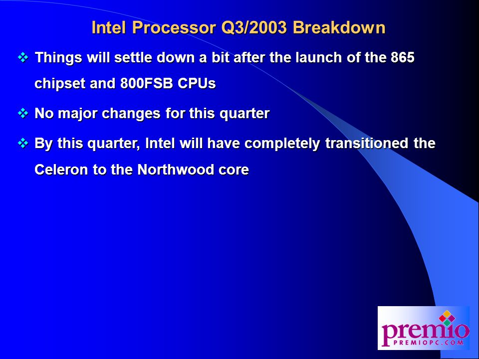 Intel Processor Q4/2003 Breakdown  In this quarter, Intel will launch their next generation P4 processor based on the new Prescott core  The Prescott will have a 0.09 micron core with 1MB of L2 cache and will be launching at 3.4GHz  Other enhancements to the Prescott will be a refinement of their Hyper-Threading technology (HT2?)  Also, a series of hardware security features codename LaGrande may be added to the Prescott  LaGrande will work in conjunction with Microsoft's Palladium software security initiative