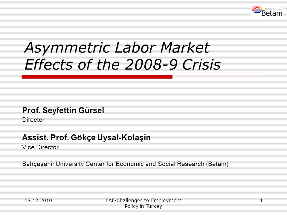 18.12.2010EAF-Challenges to Employment Policy in Turkey 1 Asymmetric Labor Market Effects of the 2008-9 Crisis Prof. Seyfettin Gürsel Director Assist.