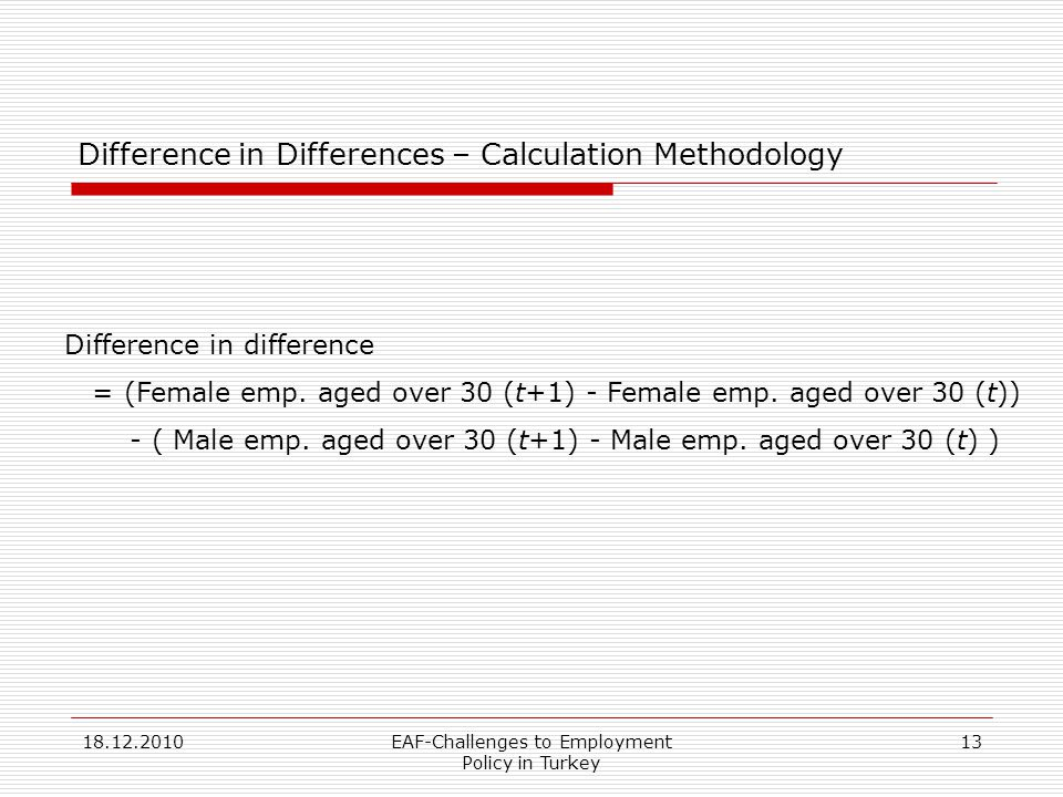 18.12.2010EAF-Challenges to Employment Policy in Turkey 13 Difference in Differences – Calculation Methodology Difference in difference = (Female emp.