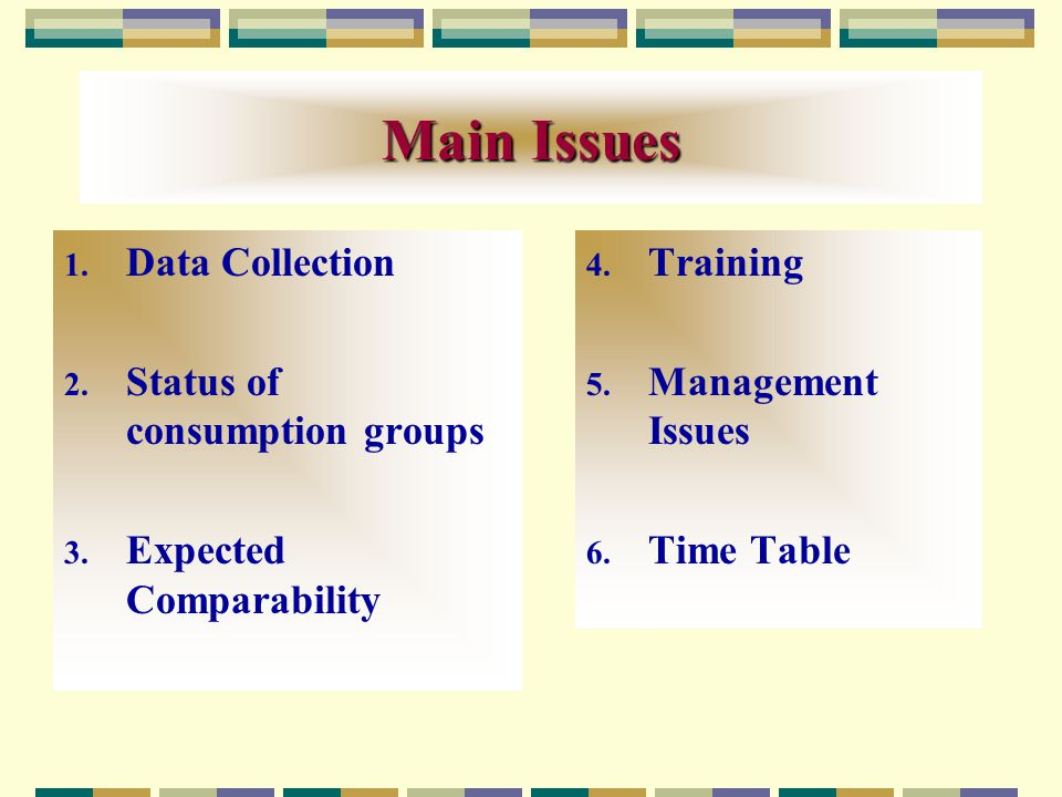 Main Issues 1. Data Collection 2. Status of consumption groups 3.