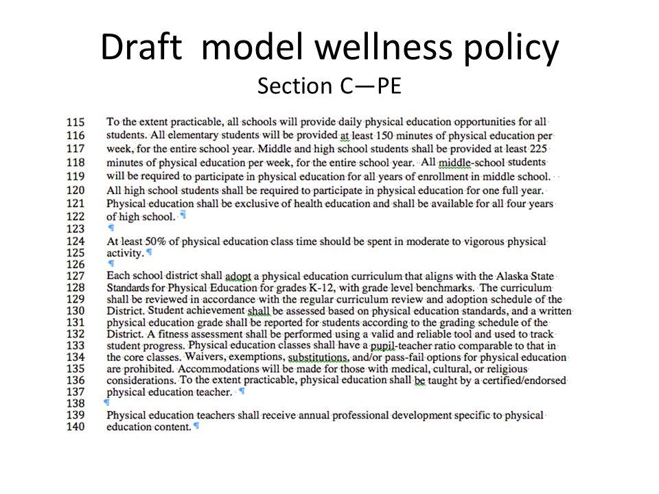 Draft model wellness policy Section C—PE