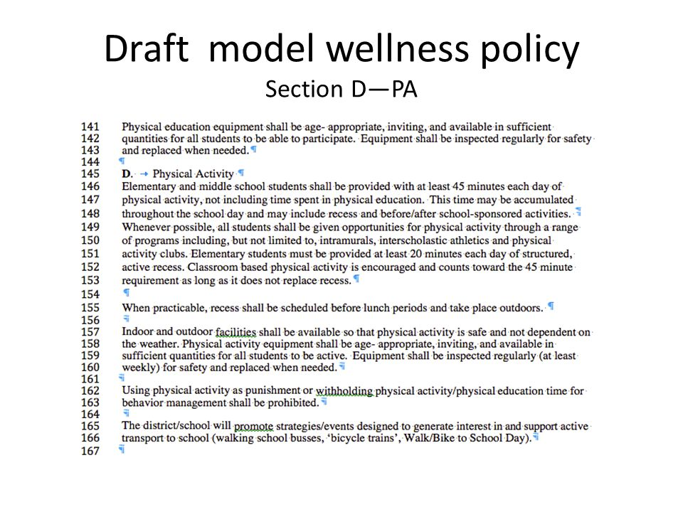 Draft model wellness policy Section D—PA