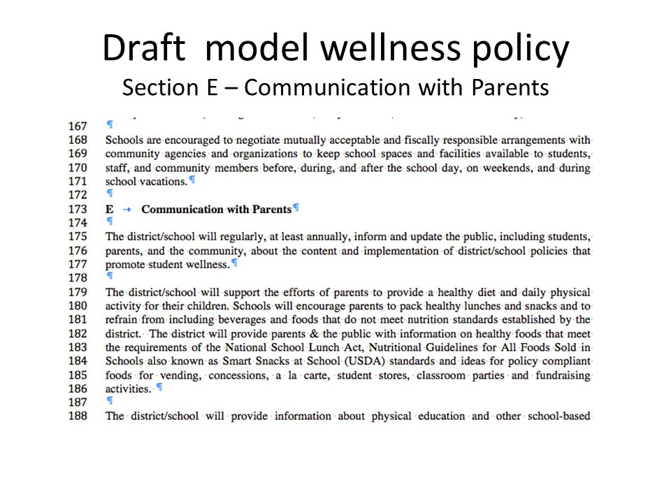 Draft model wellness policy Section E – Communication with Parents