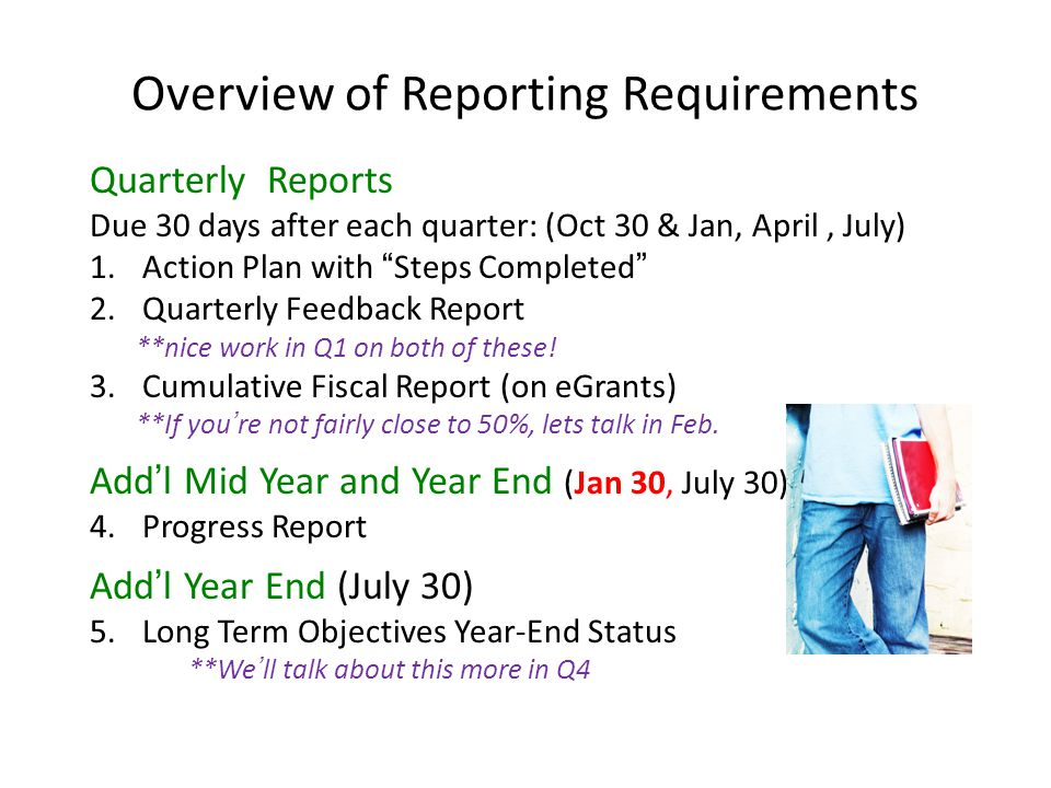 Overview of Reporting Requirements Quarterly Reports Due 30 days after each quarter: (Oct 30 & Jan, April, July) 1.Action Plan with Steps Completed 2.Quarterly Feedback Report **nice work in Q1 on both of these.