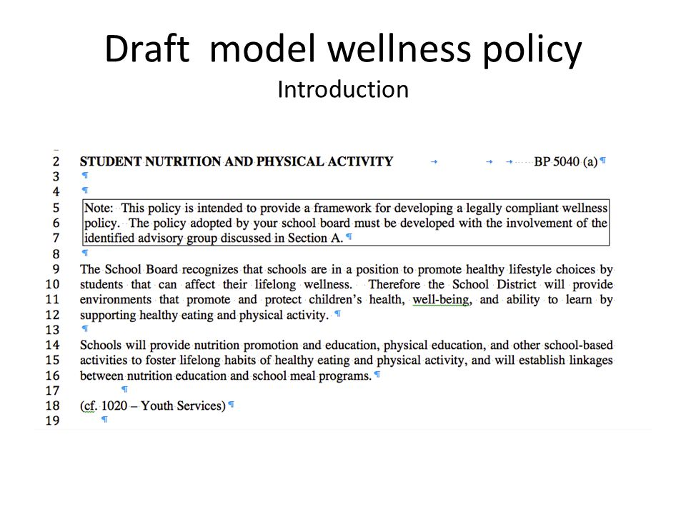 Draft model wellness policy Introduction