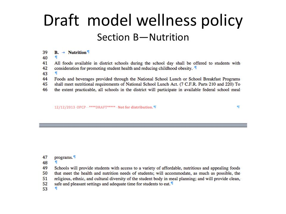 Draft model wellness policy Section B—Nutrition