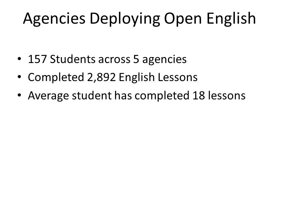 Agencies Deploying Open English 157 Students across 5 agencies Completed 2,892 English Lessons Average student has completed 18 lessons